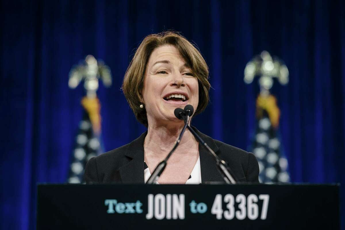 Senator Amy Klobuchar, a Democrat from Minnesota and 2020 presidential candidate, speaks during the Democratic National Committee (DNC) Summer Meeting in San Francisco, California, U.S., on Friday, Aug. 23, 2019. More than a dozen presidential candidates are descending on San Francisco this week to try and wow DNC members at their annual summer meeting. Photographer: Michael Short/Bloomberg