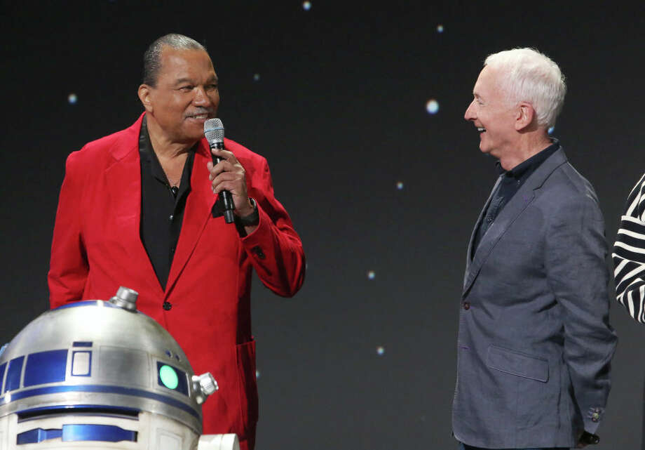 Billy Dee Williams and Anthony Daniels of 'Star Wars: The Rise of Skywalker' took part today in the Walt Disney Studios presentation at Disney's D23 EXPO 2019 in Anaheim, Calif. 'Star Wars: The Rise of Skywalker' will be released in U.S. theaters on December 20, 2019. (Photo by Jesse Grant/Getty Images for Disney) Photo: Jesse Grant/Getty Images For Disney / 2019 Getty Images