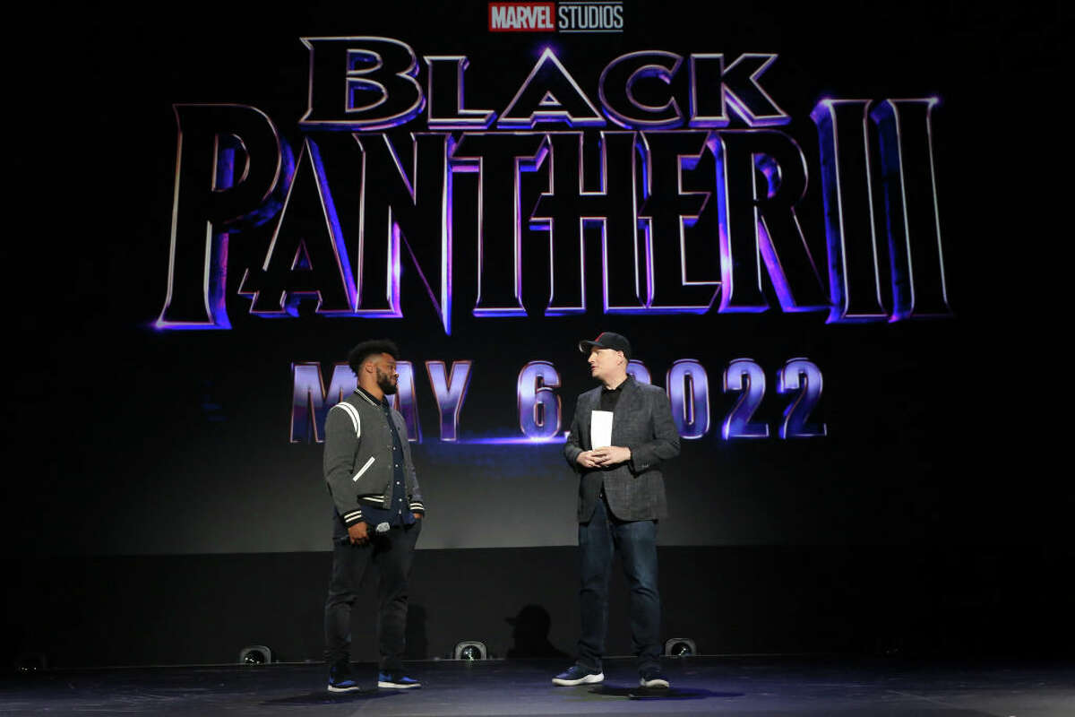 (L-R) Ryan Coogler of 'Black Panther 2' and President of Marvel Studios Kevin Feige took part today in the Walt Disney Studios presentation at Disney's D23 EXPO 2019 in Anaheim, Calif. 'Black Panther 2' will be released in U.S. theaters on May 6, 2020.