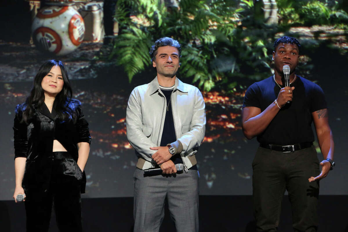 (L-R) Kelly Marie Tran, Oscar Isaac, and John Boyega of 'Star Wars: The Rise of Skywalker' took part today in the Walt Disney Studios presentation at Disney's D23 EXPO 2019 in Anaheim, Calif. 'Star Wars: The Rise of Skywalker' will be released in U.S. theaters on December 20, 2019.