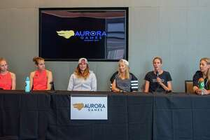 Beach volley ball players from the U.S., the Czech Republic, Switzerland and Canada answer questions at the Albany Convention Center on Saturday, Aug. 24 prior to taking the sand on Sunday, Aug. 25 during the Aurora Games at the Times Union Center in Albany, NY (Jim Franco/Special to the Times Union.)4