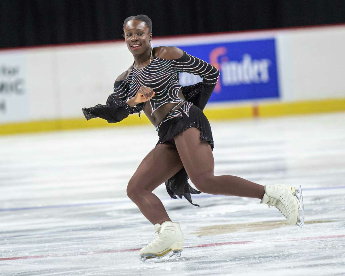 Mae-Berenice Meite, of Team World, skates at the Aurora Games on Saturday, Aug. 24, 2019, at the Times Union Center in Albany NY (Jim Franco/Special to the Times Union.)