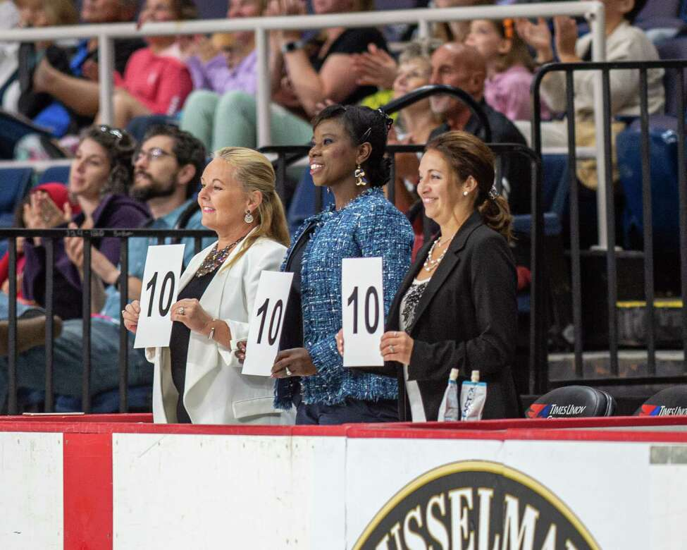 Judges give a perfect 10 to a performance during the figure skating competition at the Aurora Games on Saturday, Aug. 24, 2019, at the Times Union Center in Albany NY (Jim Franco/Special to the Times Union.)