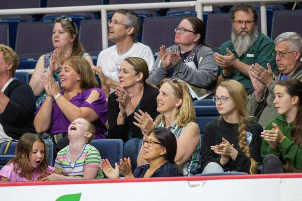 Fans watch figure skating during the Aurora Games on Saturday, Aug. 24, 2019, at the Times Union Center in Albany NY (Jim Franco/Special to the Times Union.)