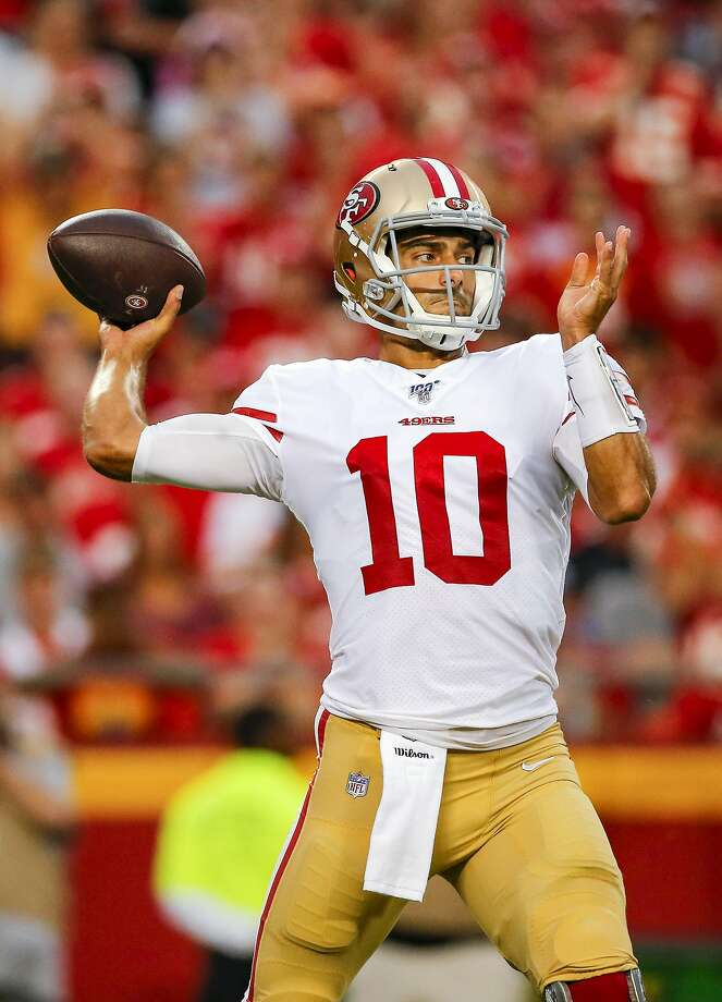 Jimmy Garoppolo #10 of the San Francisco 49ers throws a first quarter pass during preseason action against the Kansas City Chiefs at Arrowhead Stadium on August 24, 2019 in Kansas City, Missouri. (Photo by David Eulitt/Getty Images) Photo: David Eulitt, Getty Images