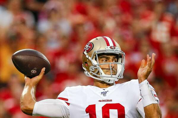 KANSAS CITY, MO - AUGUST 24: Jimmy Garoppolo #10 of the San Francisco 49ers throws a first quarter pass during preseason action against the Kansas City Chiefs at Arrowhead Stadium on August 24, 2019 in Kansas City, Missouri. (Photo by David Eulitt/Getty Images)