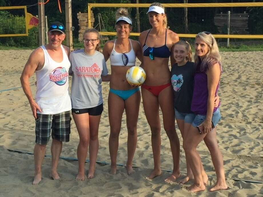 From left: Chris Bowler, Nanola volleyball director; Jeannie Jerome; April Ross and Alice Klineman; Lexie Tull and her mother, Karen Van Wagner, at the Nanola volleyball courts on Saturday. (Provided photo)