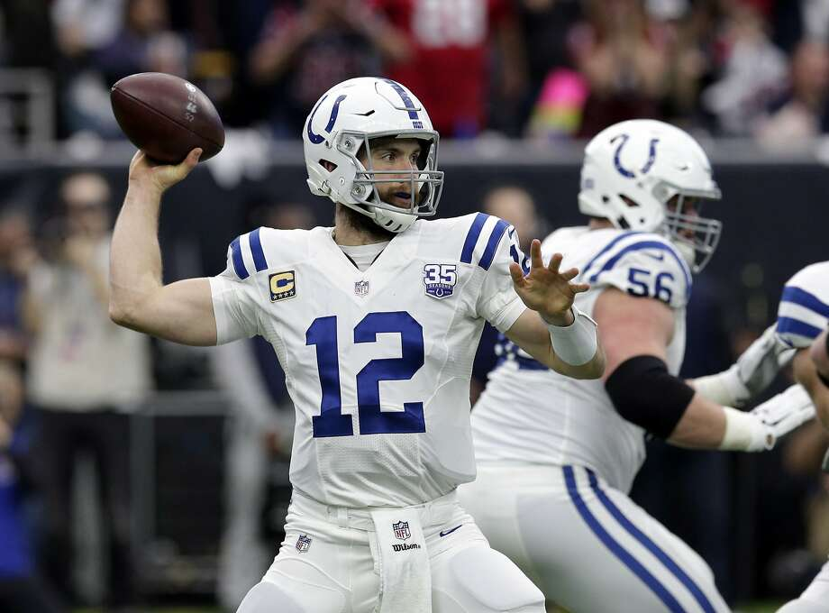 Indianapolis Colts quarterback Andrew Luck throws against the Texans during the first half of an NFL wild card playoff football game in Houston in January. It appears the game will be Luck's last victory. Photo: Michael Wyke / Associated Press