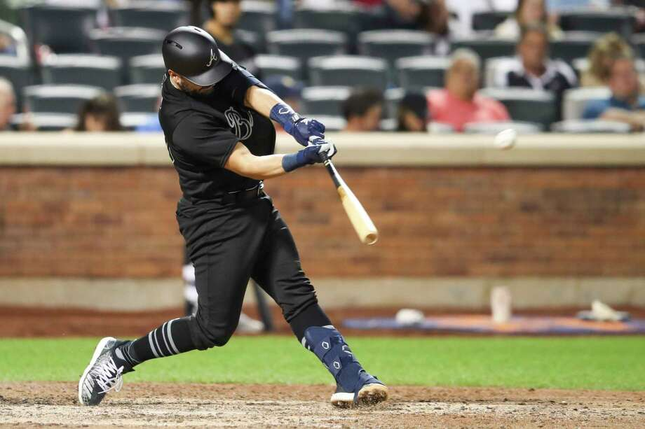 Atlanta Braves' Francisco Cervelli hits an RBI double during the ninth inning of the team's baseball game against the New York Mets, Saturday, Aug. 24, 2019, in New York. (AP Photo/Mary Altaffer) Photo: Mary Altaffer / Copyright 2019 The Associated Press. All rights reserved.