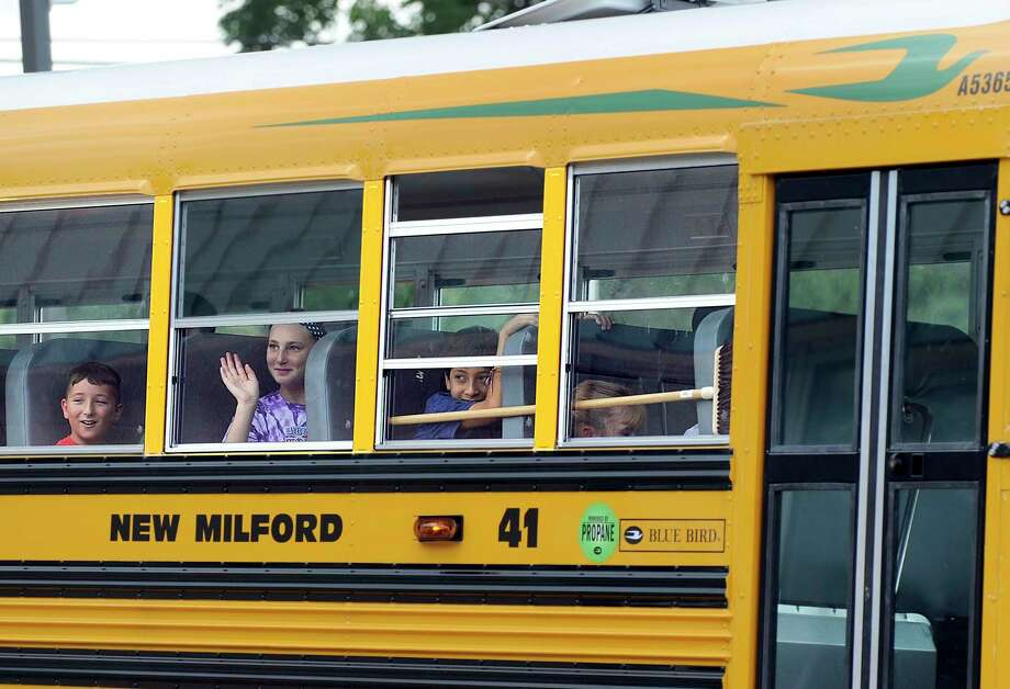 File photo of a bus at Schaghicoke Middle School in New Milford, Thursday, Sept. 1, 2016. Photo: Carol Kaliff / Hearst Connecticut Media / The News-Times