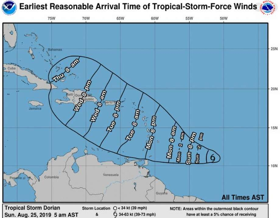 A tropical storm watch has been issued for Barbados as the fourth tropical storm of this year's Atlantic hurricane season moves toward the Lesser Antilles. Photo: NOAA