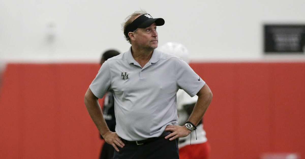 Houston Cougars head coach Dana Holgorsen looks on during the first day of fall football practice at the University of Houston in Houston, TX on Saturday, August 3, 2019.