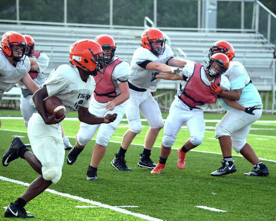 The Edwardsville freshman football team was part of Friday's Orange and Black Scrimmage at the District 7 Sports Complex.