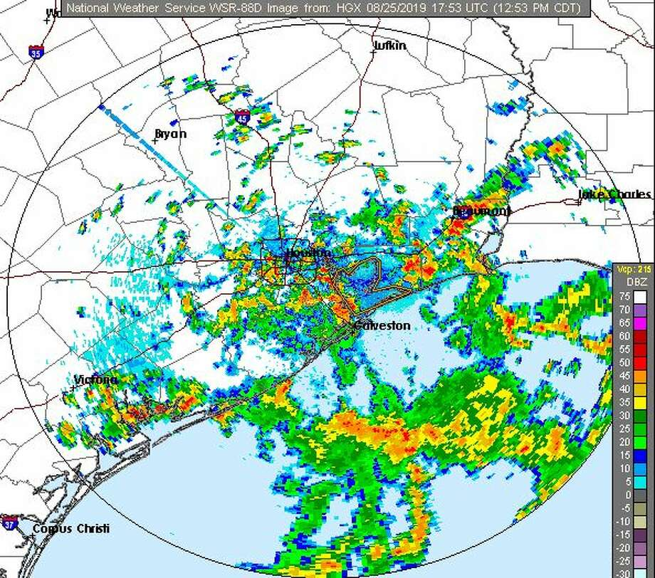 Intermittent rain and storms could impact the entire Houston area until around 10 p.m Sunday Photo: NWS