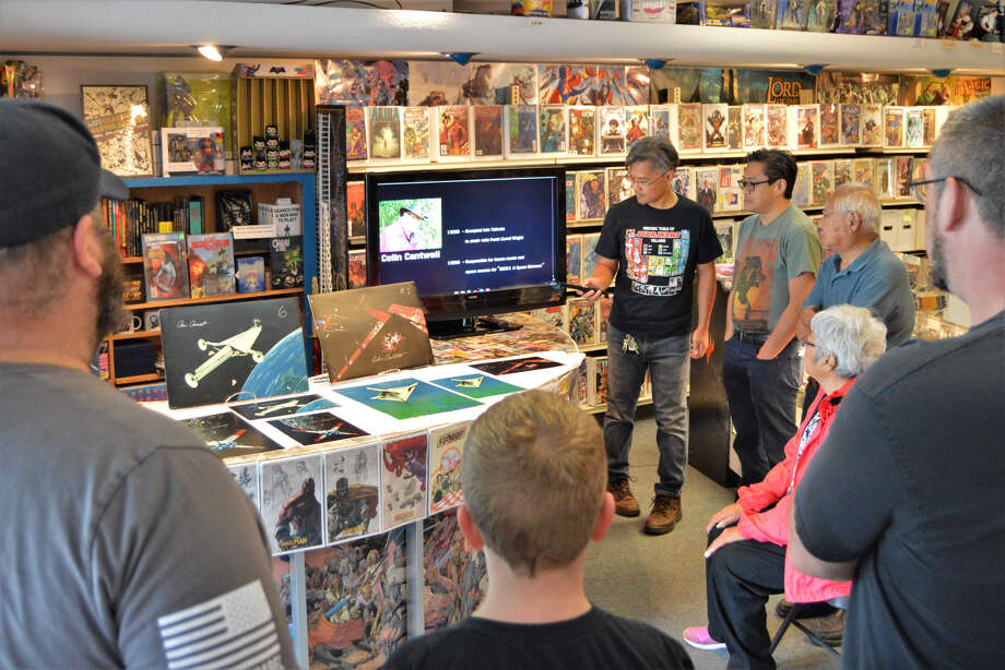 "Colin Cantwell, one of the original design artists for the 1977 movie ""Star Wars: Episode IV - A New Hope,"" visited a Midland comic shop, Collector's Corner on Saturday, Aug. 24, 2019. A crowd of fans gathered to watch a video and learn about Cantwell's work. (Ashley Schafer/Ashley.Schafer@hearstnp.com) Photo: Ashley Schafer"