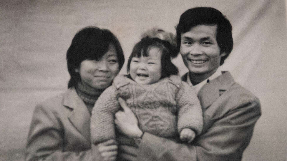 A photograph of a Chinese family shown in the documentary