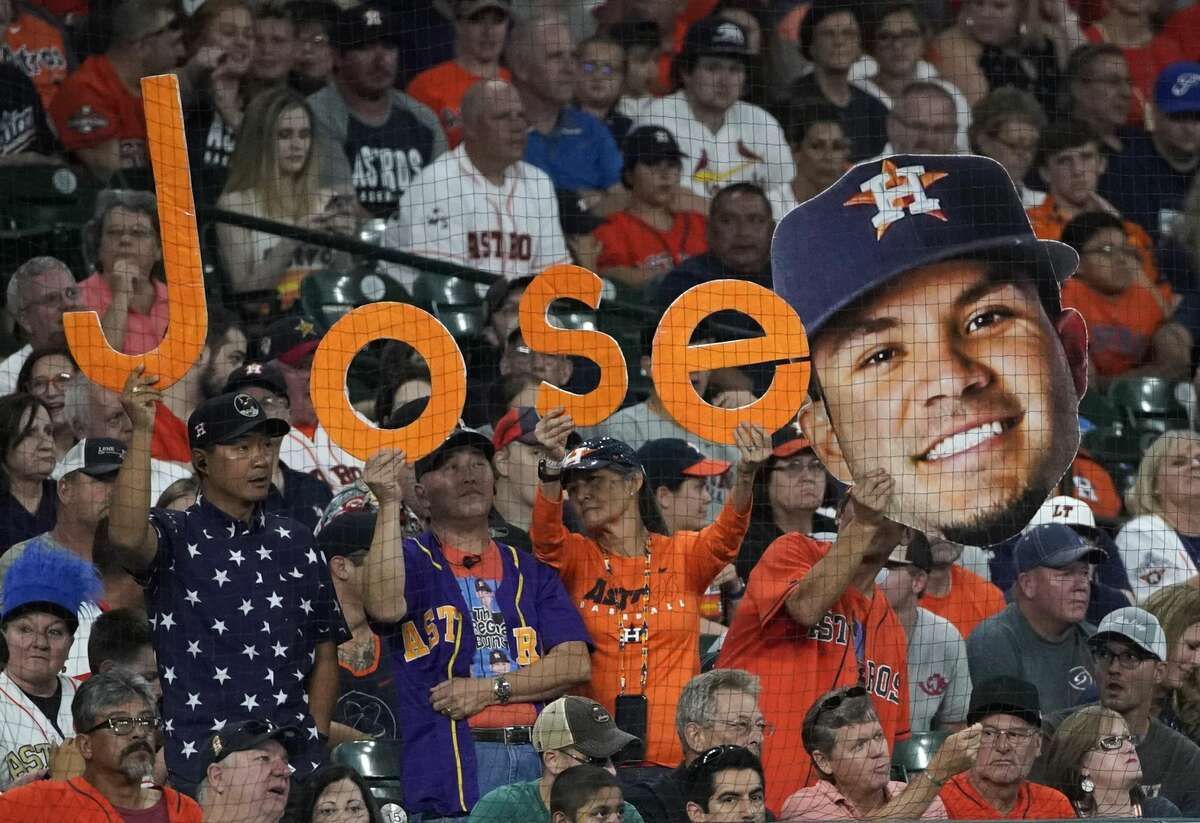 PHOTOS: Astros vs. Angels Fans display Jose Altuve signs during Houston Astros MLB game against the Los Angels Angels at Minute Maid Park Sunday, Aug. 25, 2019, in Houston. >>>See photos from the Astros' final regular-season game at home on Sunday, Sept. 22, 2019 ...