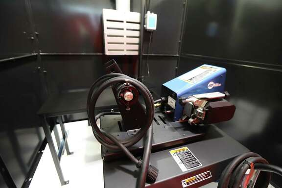 A welding booth inside a training area classroom at Houston Community College North Forest campus Tuesday, Aug. 6, 2019, in Houston.
