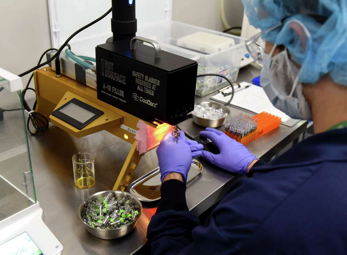 Cannabis products for vaping are packaged at the Curaleaf New York processing facility on Thursday, Aug. 22, 2019, in Coeymans, N.Y. (Will Waldron/Times Union)