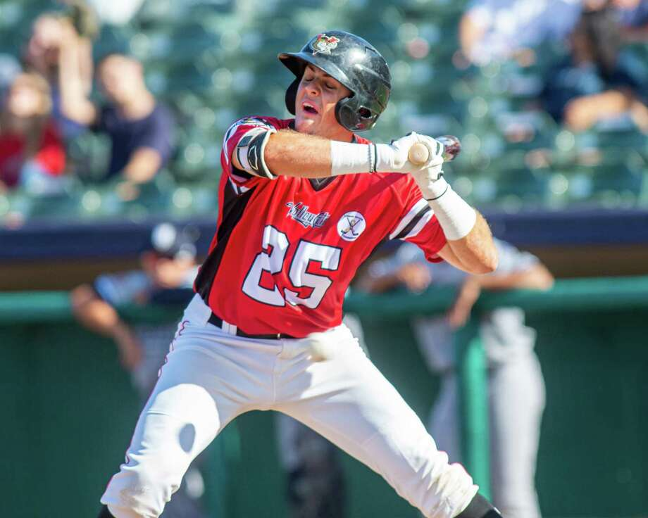 Tri-City Valleycats first basemen Nate Perry gets out of the way of an inside pitch during a game against the Staten Island Yankees at the Joseph L. Bruno Stadium in Troy NY on Sunday, Aug. 25, 2019 (Jim Franco/Special to the Times Union.) Photo: James Franco / 40047208A