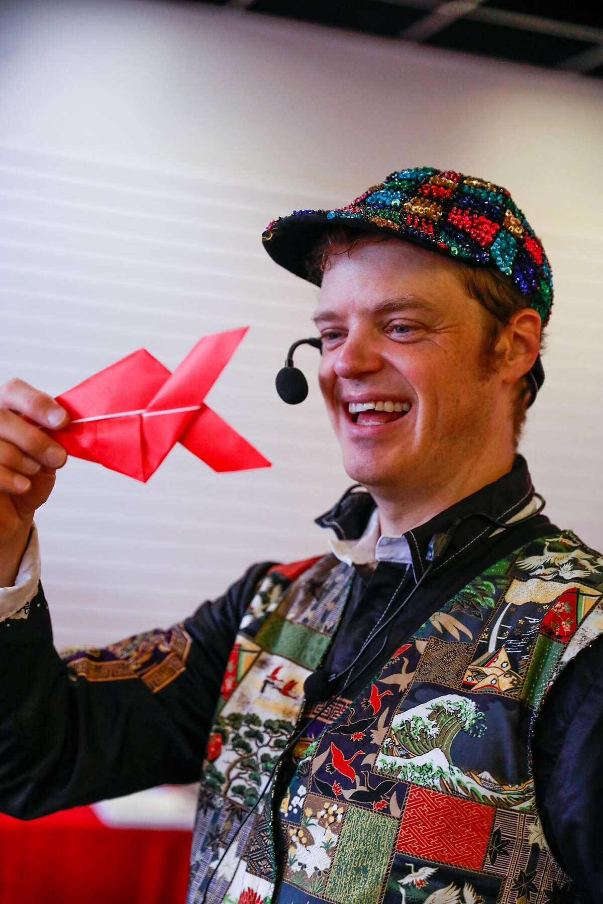 Famous origamist Jeremy Shafer teaches an origami class at the Origami Palooza in Japantown in San Francisco, California, on Sunday, Aug. 25, 2019.