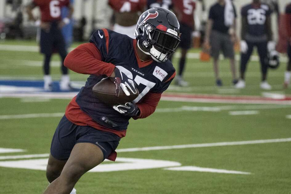 Houston Texans running back Duke Johnson turns the ball back up the field after making a catch during training camp at the Methodist Training Center on Thursday, Aug. 22, 2019, in Houston.