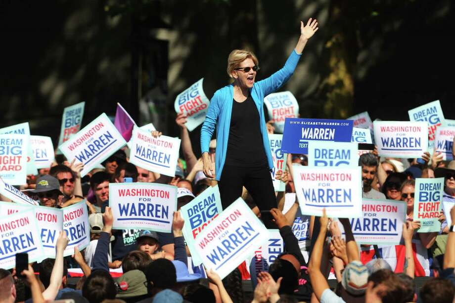 Democratic presidential candidate Senator Elizabeth Warren speaks to thousands gathered for her town hall campaign event at Seattle Center, Sunday, Aug. 25, 2019. Warren is the first top tier candidate to hold a campaign event in Seattle. Photo: Genna Martin, Seattlepi.com / GENNA MARTIN