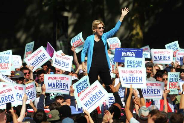 Democratic presidential candidate Senator Elizabeth Warren speaks to thousands gathered for her town hall campaign event at Seattle Center, Sunday, Aug. 25, 2019. Warren is the first top tier candidate to hold a campaign event in Seattle.