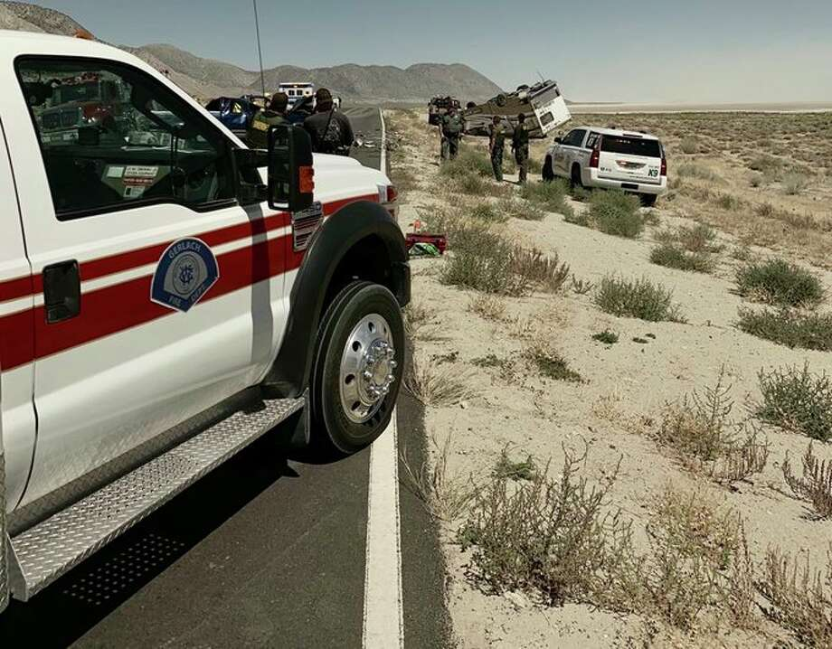 The Washoe Country Sheriff's Department are investigating a major, fatal collision involving an overturned RV in the area of County Road 34 and State Route 447. The collision caused an hours-long shutdown of the main road to Burning Man. Photo: Courtesy Of The Washoe Country Sheriff's Department