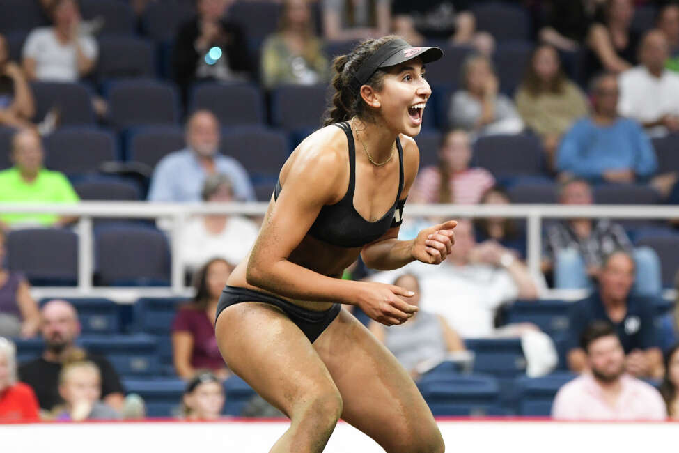 Melissa Humana-Paredes of Canada celebrates her team winning a point in their third-place game against Switzerland at the Aurora Games at the Times Union Center on Sunday, Aug. 25, 2019, in Albany, N.Y. (Paul Buckowski/Times Union)