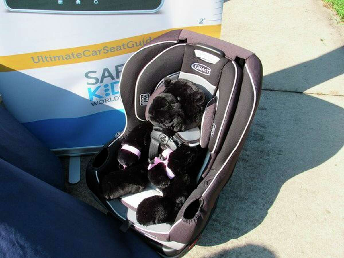 One of the Greco car seats which was donated by Lindsay and Justin Walker is on display at Thrune Park, Friday, Aug. 23. (Victoria Ritter/vritter@mdn.net)