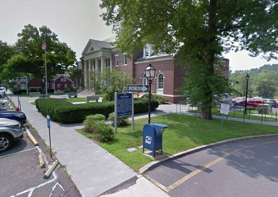 United States Postal Service mail drop box outside Edmond Town Hall in Newtown. Photo: Google Maps / Google