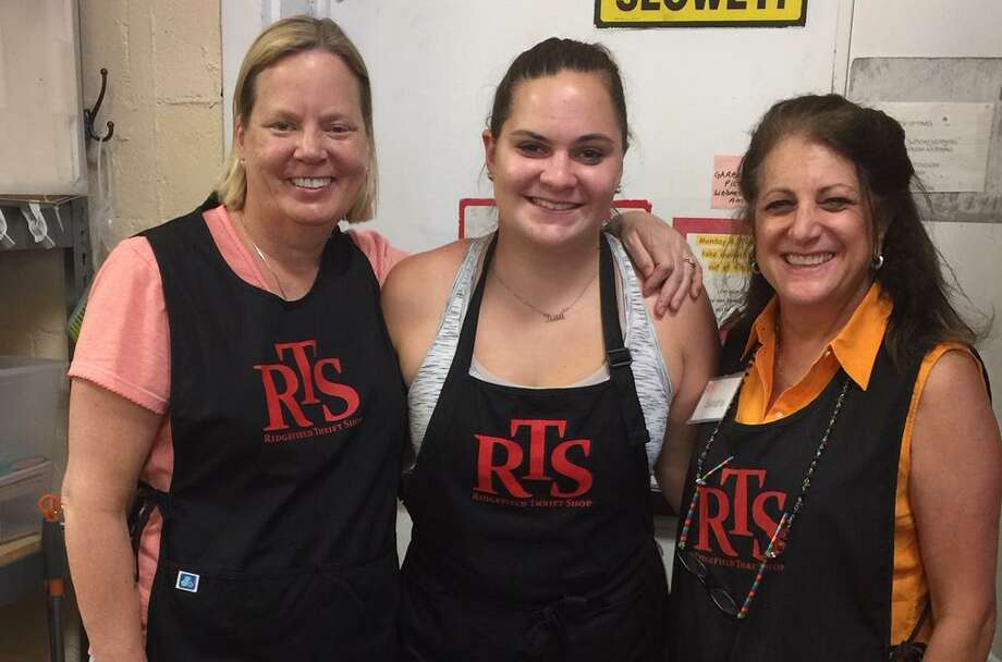 Karen Petrazzini, Ridgefield Thrift Shop (RTS) manager; Kaitlin Edwardson, RTS summer intern; and Sandra Capriotti, RTS president. Photo: /