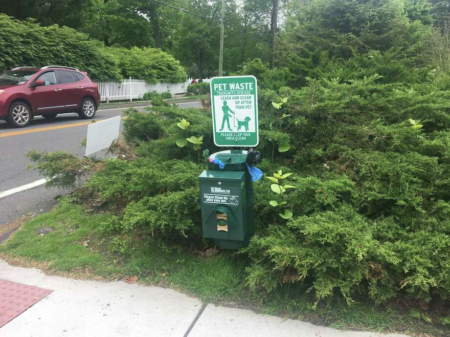 Ridgefield's dog poop station at the intersection of Branchville Road and Main Street continues to draw the ire of residents. Photo: Stephen Coulter / Hearst