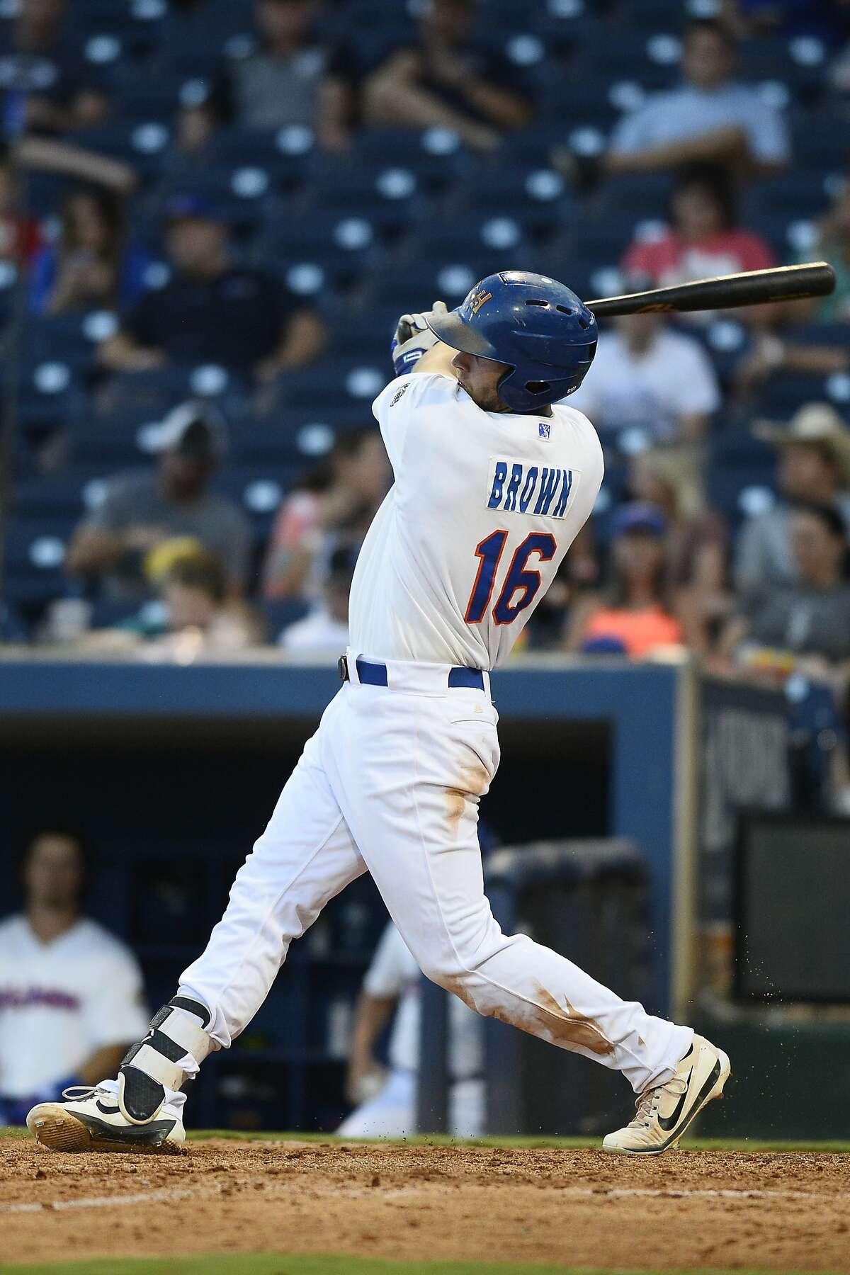 RockHounds Seth Brown hits against Tulsa June 28, 2018, at Security Bank Ballpark. James Durbin/Reporter-Telegram