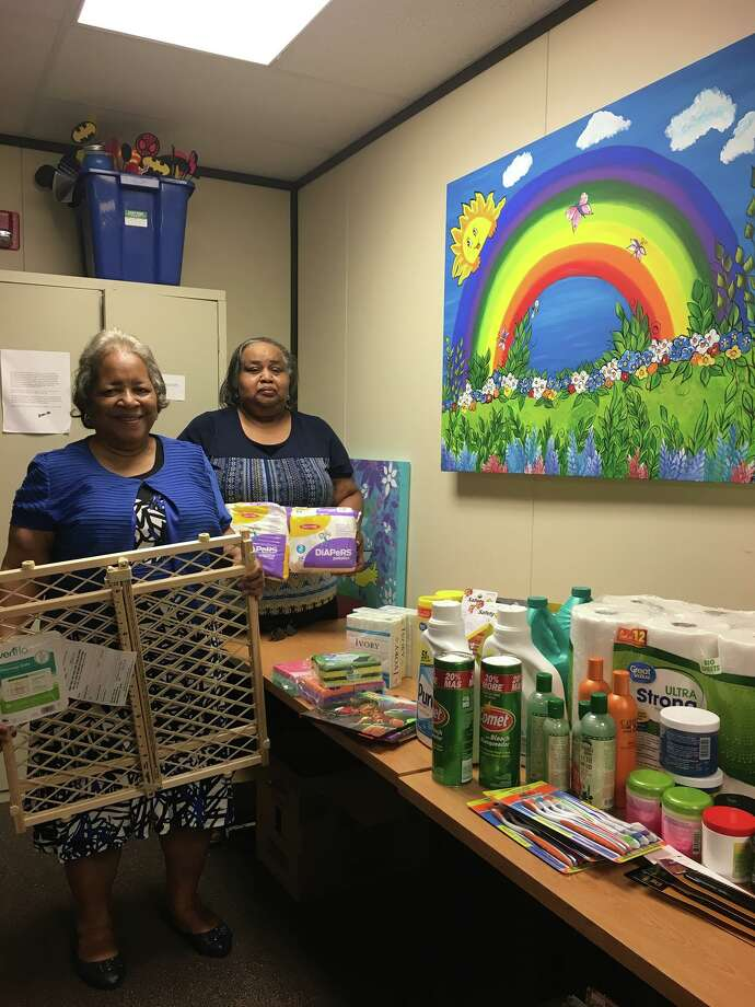 "The Liberty County Child Welfare Board's Rainbow Room was the recipient of some much-needed supplies from the Women of Purpose and Pastor Henry Hollis of the New Galilee Baptist Church in Cleveland. ""We are strengthened by our community's support,"" they said. Members Delores Sewell (l) and Carrie Nickson presented the supplies. Photo: Submitted"