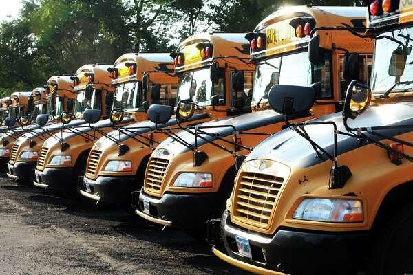 City of Shelton school buses parked in Shelton.