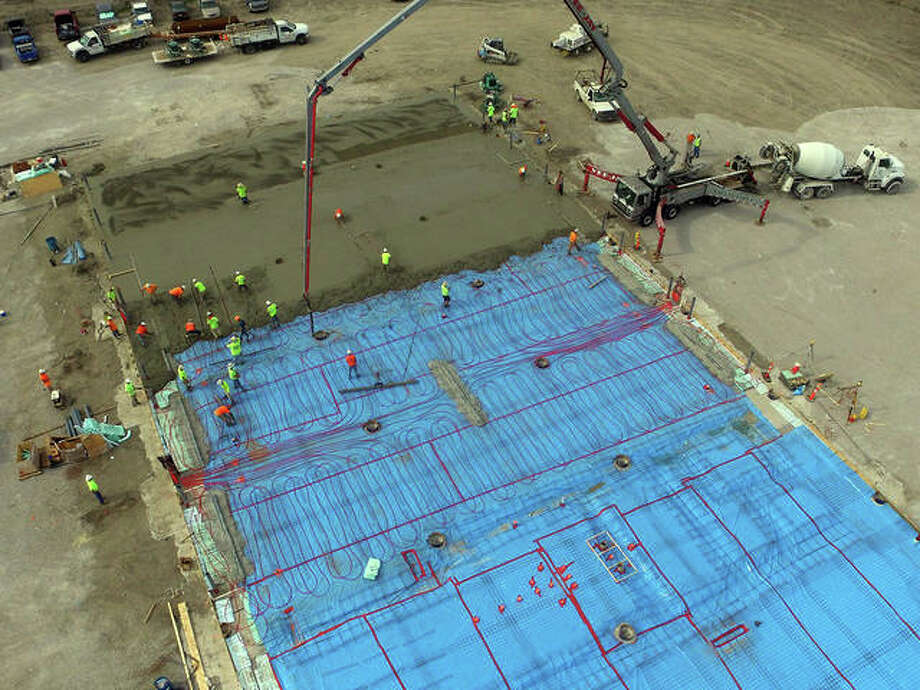 Contegra Construction crews install about 4,000 linear feet of hot water piping embedded in the floor of the maintenance zone to efficiently provide radiant heating. The Edwardsville project will be completed by the end of 2019. Photo: Courtesy Of Contegra Construction