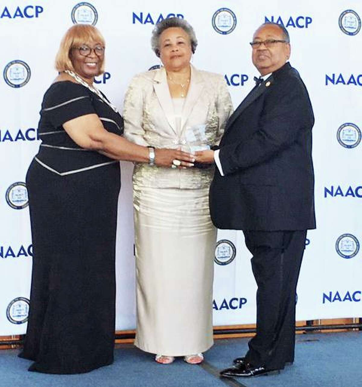 From left are Gloria Sweet-Love, president, NAACP Tennessee State Conference, and Region V Thalheimer Committee member; Middlesex County NAACP President Faith M. Jackson, and Leon Russell, chairman of the National NAACP Board of Directors.
