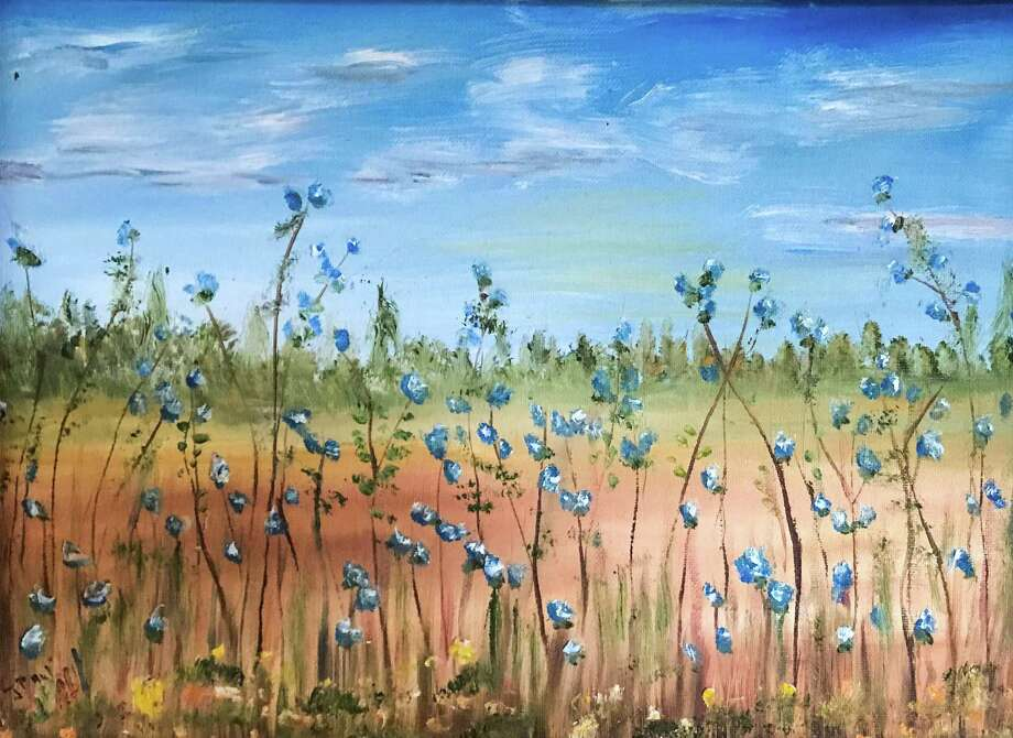 """Paul Ormiston's """"Blue Meadow,"""" oil, 13 x 17. Photo: Sherman Library / Contributed Photo"""