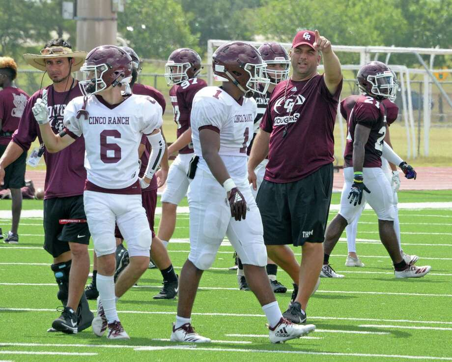 The Cinco Ranch Head Football Coach and Athletic Director Chris Dudley directs the Cougars during an inter-squad scrimmage earlier this month. Photo: Craig Moseley,  Houston Chronicle / Staff Photographer / ©2019 Houston Chronicle