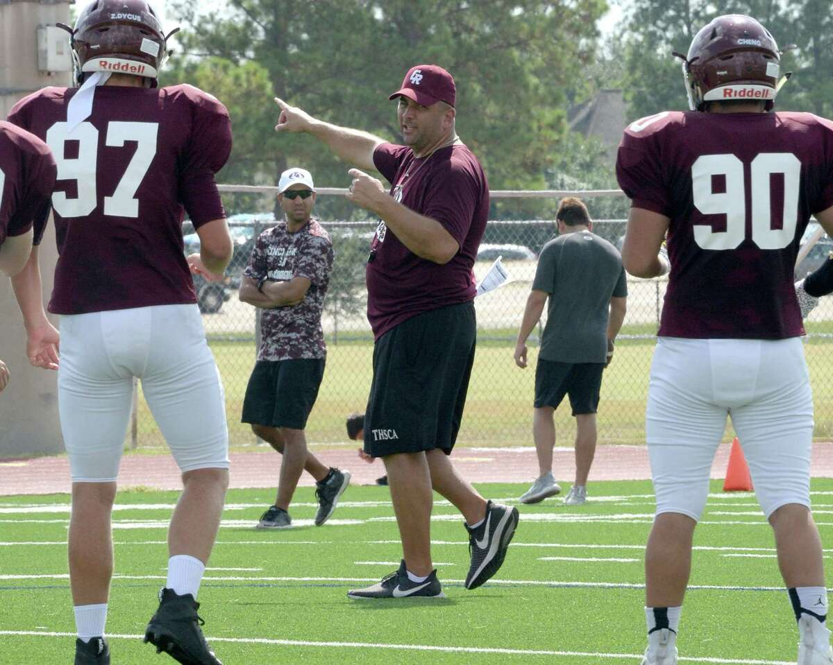 The Cinco Ranch Head Football Coach and Athletic Director Chris Dudley directs the Cougars during an inter-squad scrimmage on Saturday, August 17, 2019 at Cinco Ranch HS, Katy, TX.