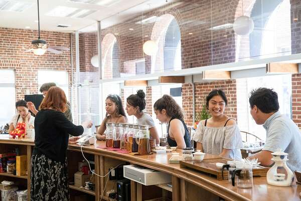 Visitors to Tea-Tasting participate in tea flight tasting at the tea room in downtown Lodi, Calif., on Saturday, August 17, 2019. The business offers table tastings of a type of Wuyi Rock Tea and also flight tastings of tea.