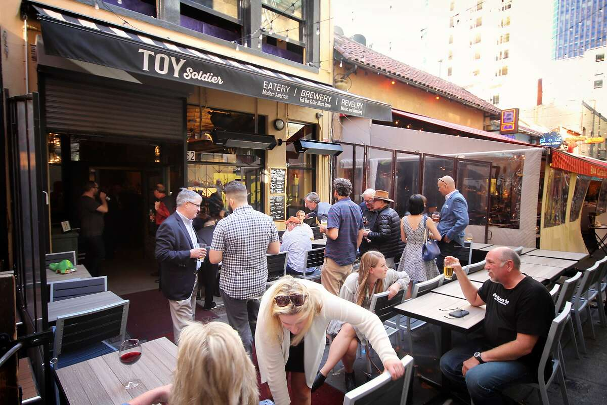 Toy Soldier is a restaurant, bar and brewery with a large patio located at 52 Belden Place, San Francisco.