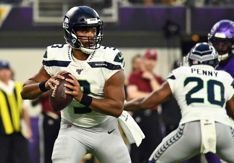MINNEAPOLIS, MN - AUGUST 18: Seattle Seahawks quarterback Russell Wilson (3) looks to pass during a preseason game between the Seattle Seahawks and Minnesota Vikings on August 18, 2019 at U.S. Bank Stadium in Minneapolis, MN(Photo by Nick Wosika/Icon Sportswire via Getty Images) Photo: Icon Sportswire/Icon Sportswire Via Getty Images, Getty Images