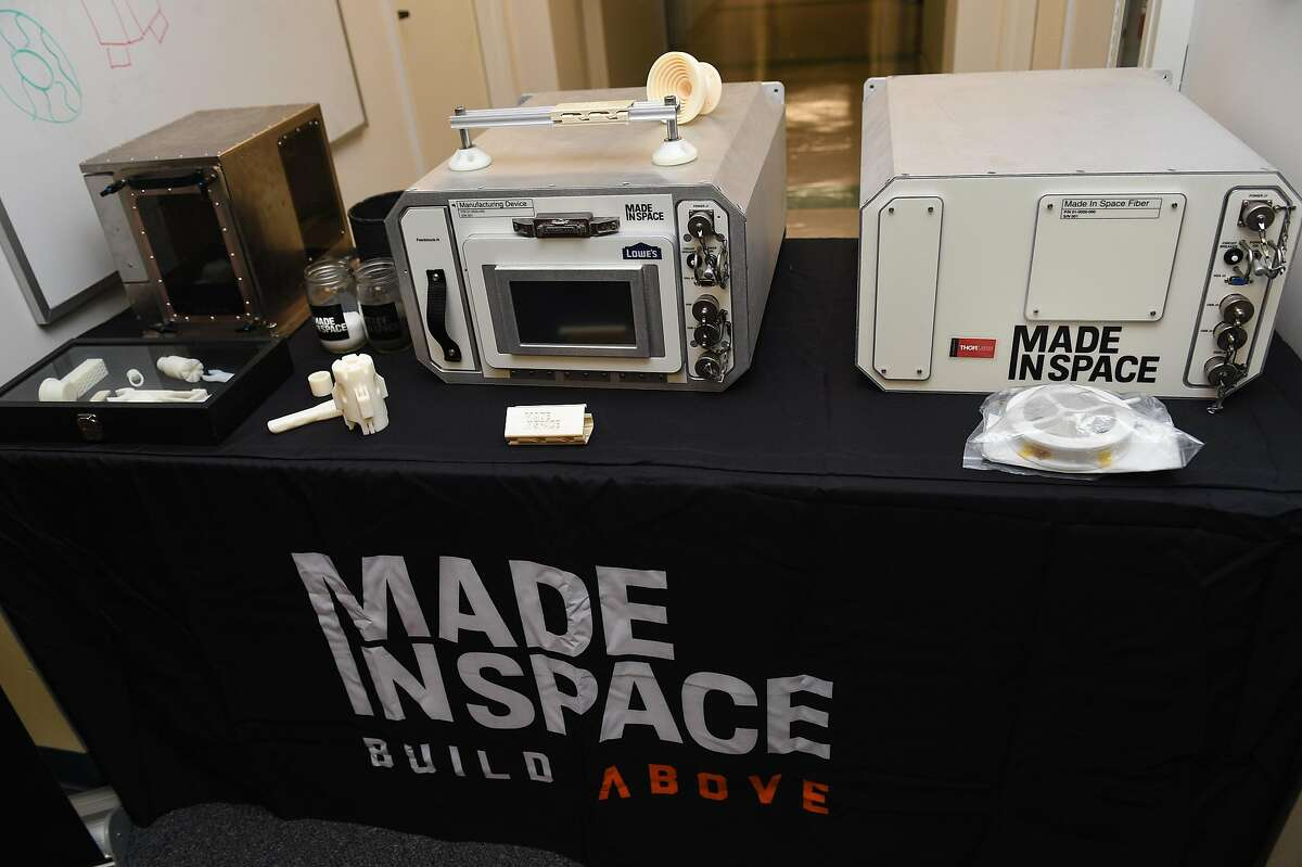 Three generations of 3D Printers which were used in space on display during a tour at the Made In Space headquarters on the NASA Ames Research Center in Mountain View on Monday August 26, 2019.