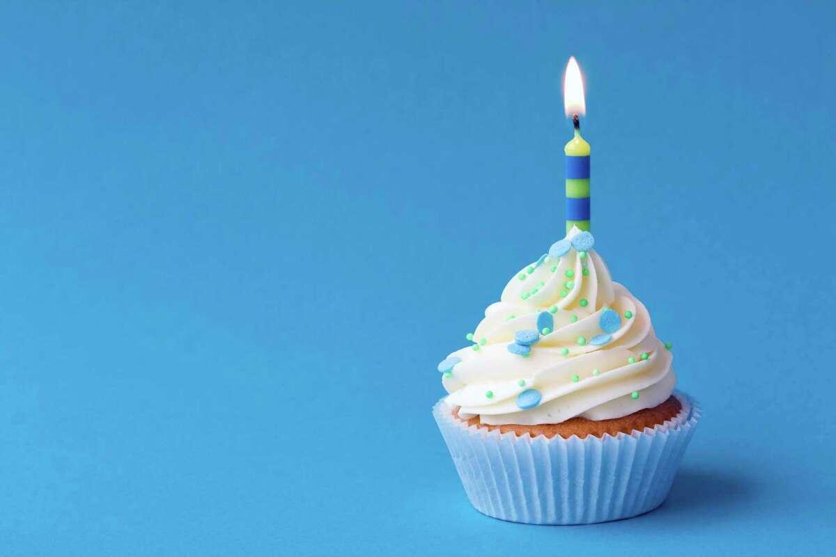 A happy birthday cupcake.
