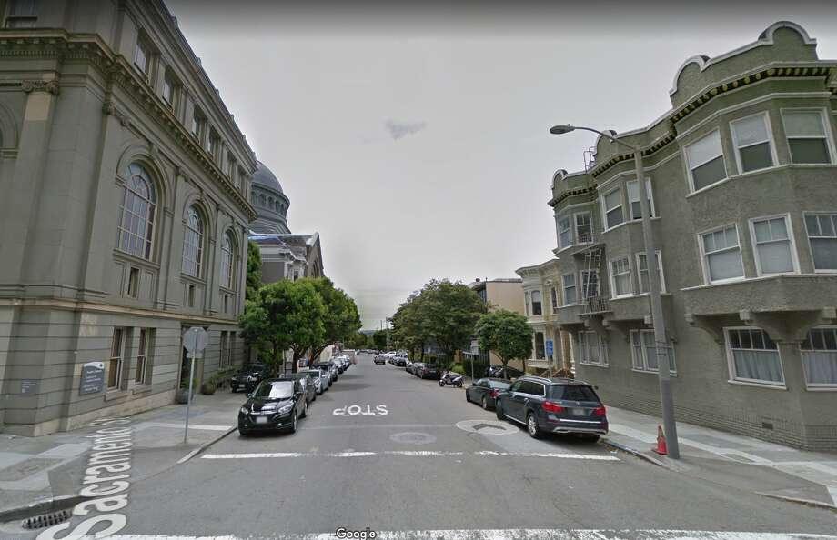 Webster Street near Sacramento in San Francisco where a Prius battery was allegedly stolen Thursday night. Photo: Google Maps