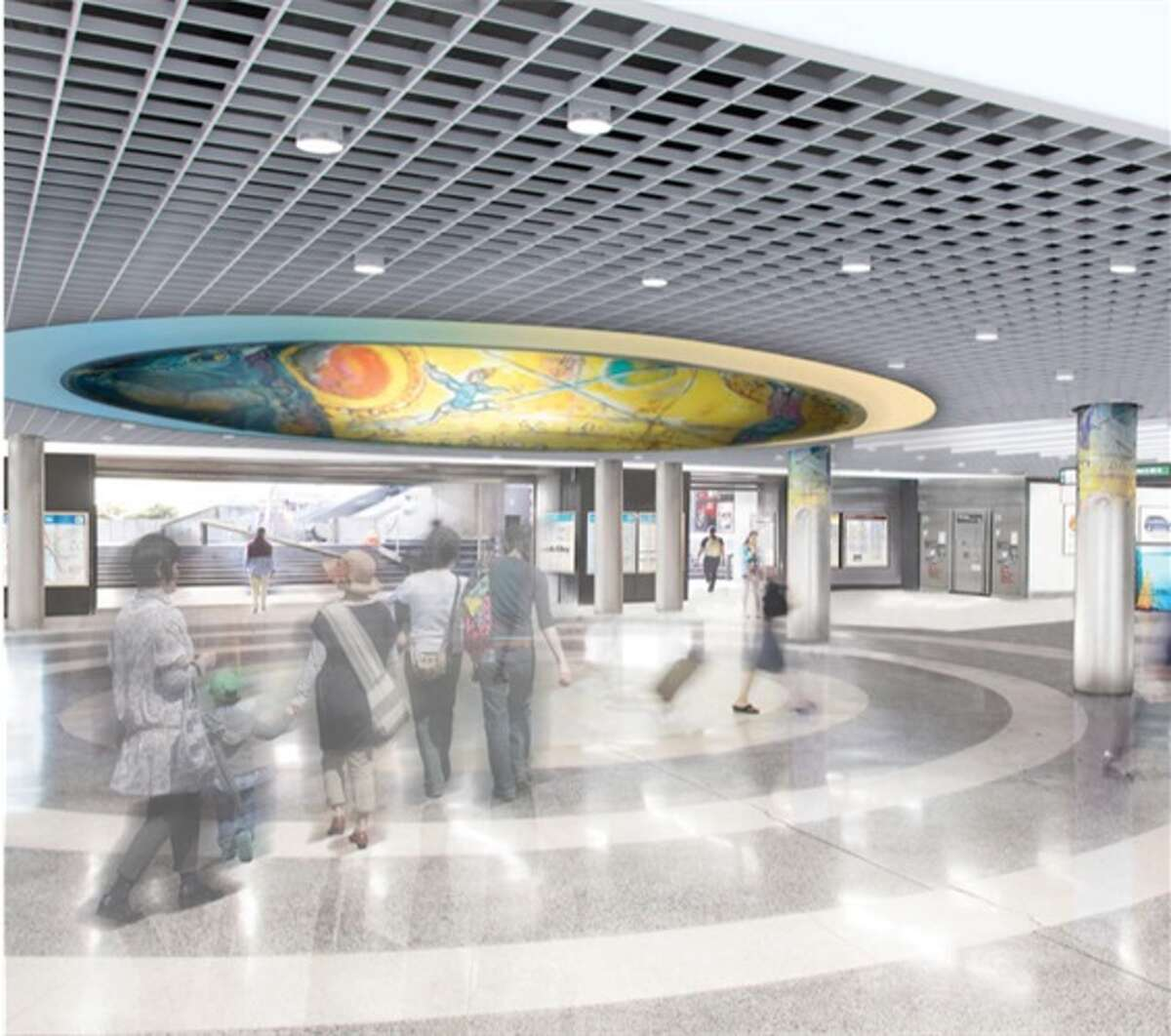 Powell Street BART Station ceiling concept. Completion is currently set for Fall/Winter 2019.