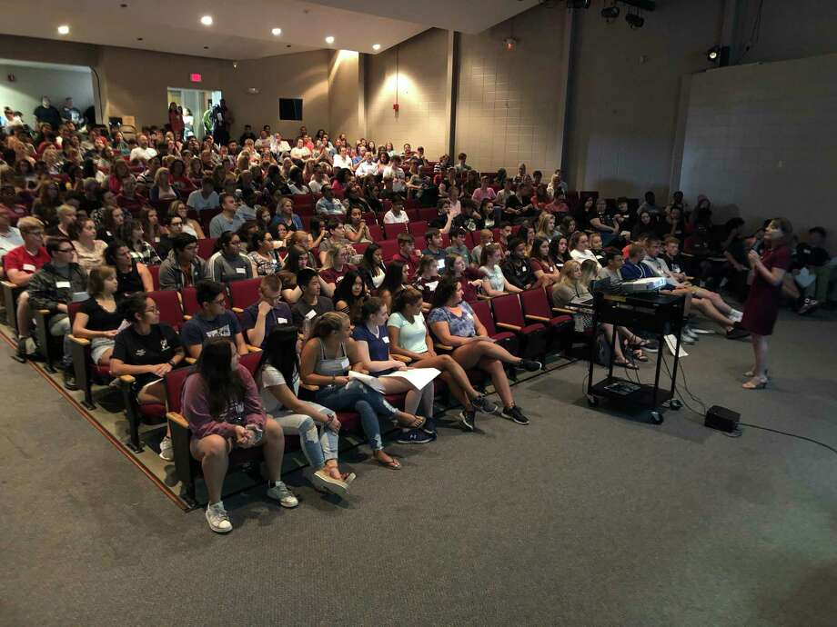 Torrington HIgh School welcomed the freshman class for orientation Aug. 23. Above, students are welcomed by Superintendent of Schools Susan Lubomski. Photo: Erin Sullivan / Contributed Photo /